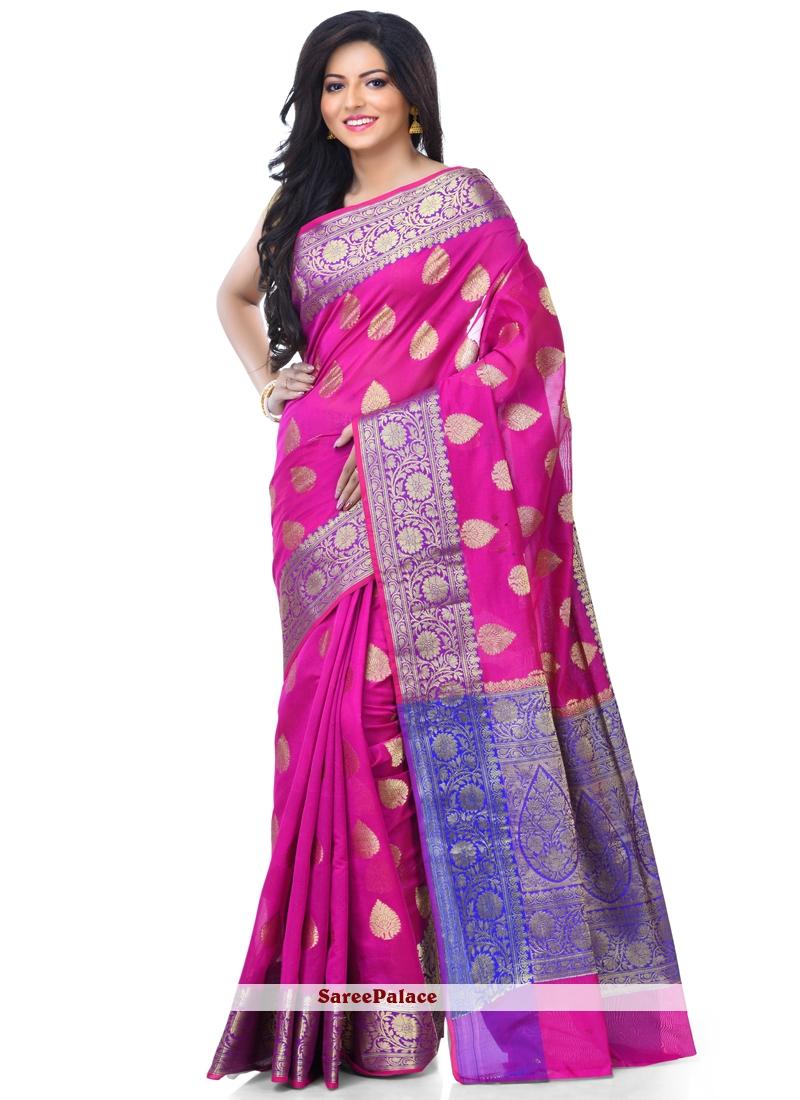 Classic Designer Saree Zari Banarasi Silk in Magenta