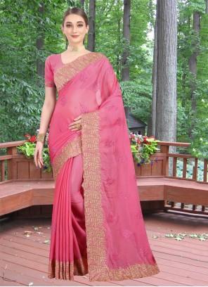 Classic Designer Saree Zari Faux Chiffon in Pink