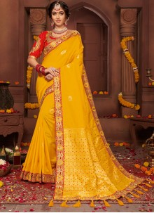 Classic Designer Saree Zari Silk in Yellow
