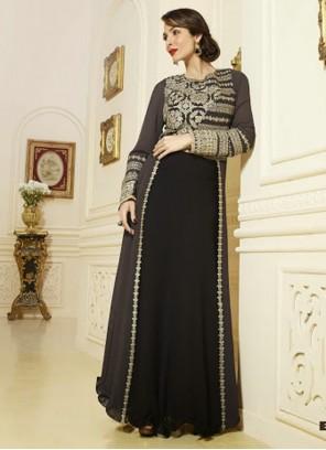 Classic Malaika Arora Khan Black Georgette Anarkali Suit