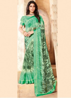 Classic Saree Abstract Print Faux Georgette in Multi Colour