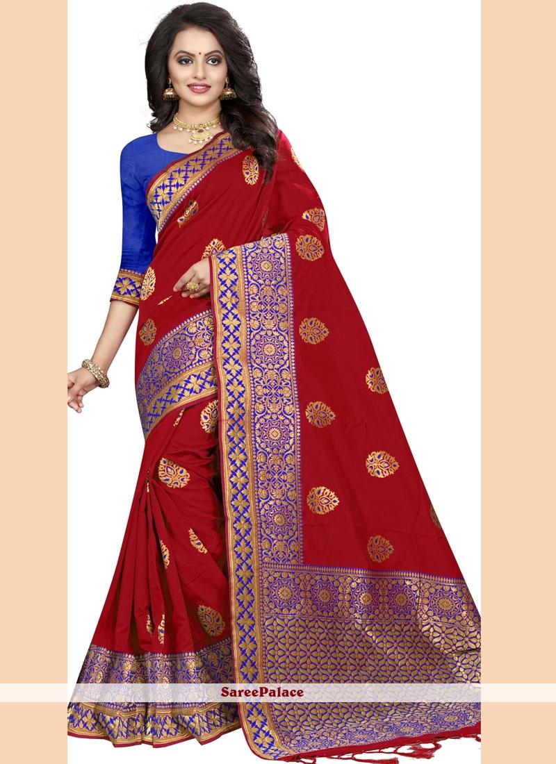 Classic Saree Border Silk in Red