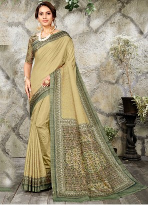 Classic Saree Digital Print Silk in Green