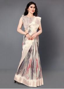 Classic Saree Digital Print Silk in Multi Colour