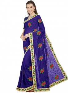 Classic Saree Embroidered Faux Chiffon in Blue