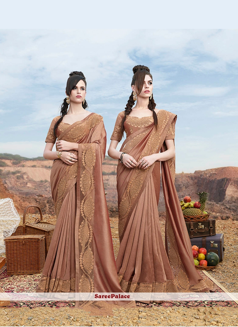 Classic Saree Embroidered Faux Georgette in Beige