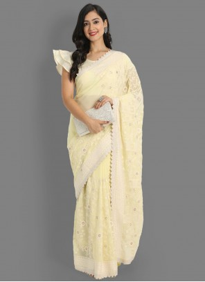 Classic Saree Embroidered Faux Georgette in Yellow
