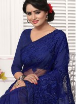 Classic Saree Embroidered Net in Blue