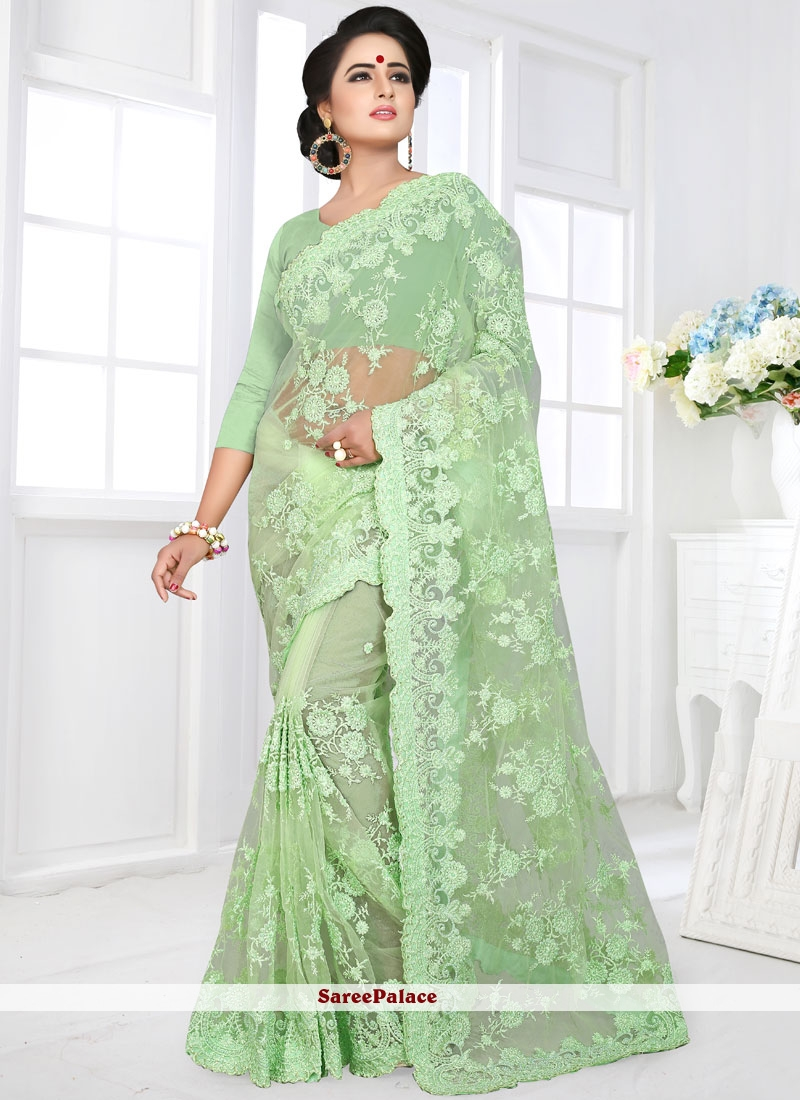 Classic Saree Embroidered Net in Sea Green