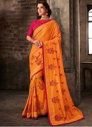 Classic Saree Embroidered Poly Silk in Orange
