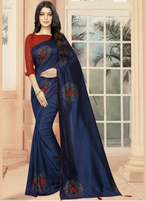 Classic Saree Embroidered Silk in Blue