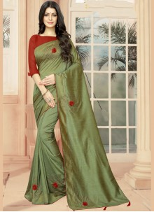 Classic Saree Embroidered Silk in Green