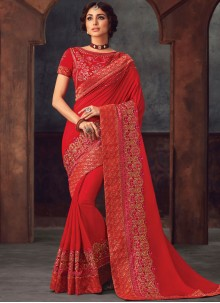 Classic Saree Embroidered Silk in Red