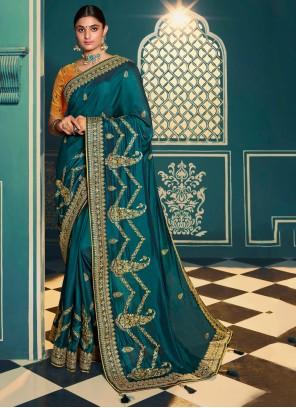 Classic Saree Embroidered Silk in Sea Green