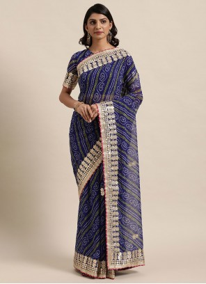 Classic Saree Fancy Faux Georgette in Blue