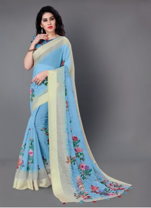 Classic Saree Floral Print Cotton in Blue