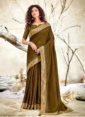 Green Chanderi Classic Saree For Ceremonial