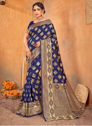 Blue Classic Saree For Ceremonial