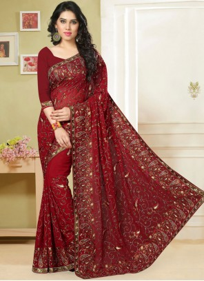 Red Georgette Classic Saree For Festival
