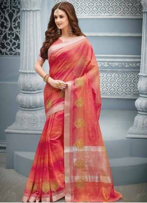 Hot Pink and Orange Cotton Classic Saree For Festival