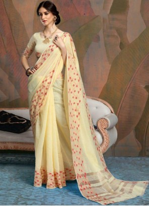 Classic Yellow Saree For Festival