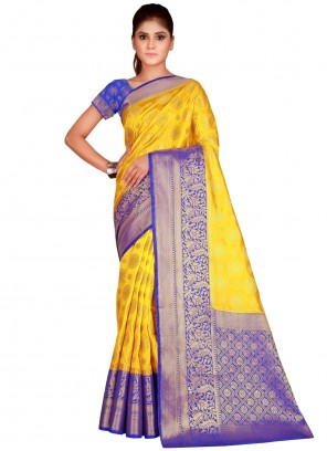 Yellow Classic Saree For Festival