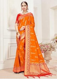 Orange Classic Saree For Festival