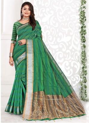 Green Cotton Classic Saree For Festival