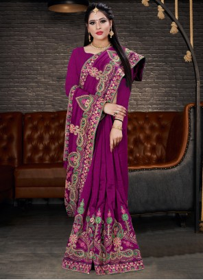 Classic Purple Saree For Party