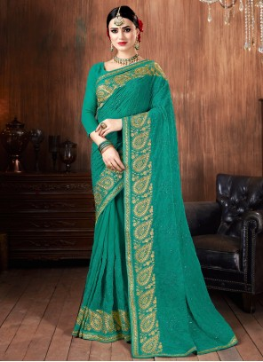 Classic Sea Green Saree For Party