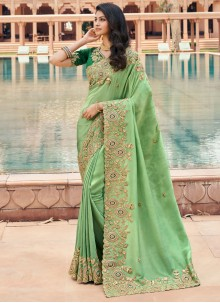 Green Georgette Classic Saree For Party