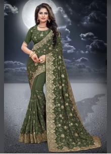 Green Silk Classic Saree For Reception