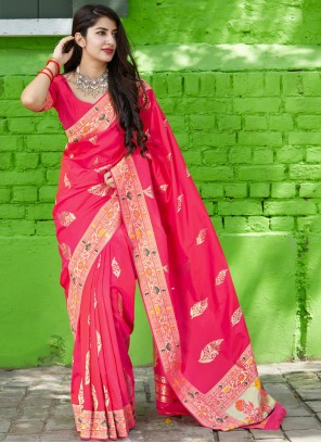 Classic Pink Saree For Reception