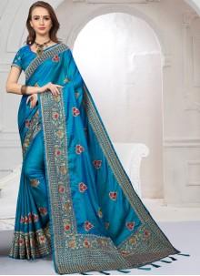 Blue Satin Silk Classic Saree For Wedding