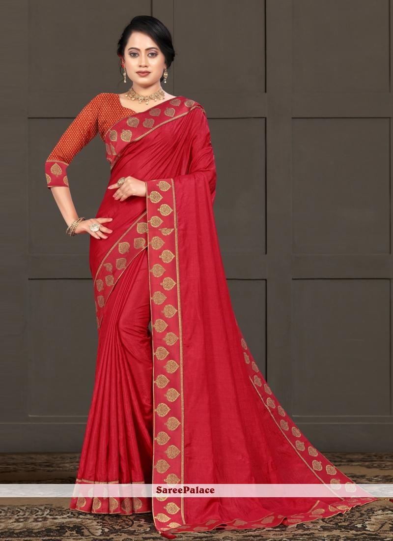 Classic Saree Lace Silk in Red