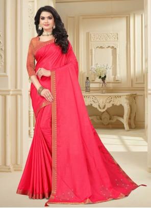 Classic Saree Lace Vichitra Silk in Pink