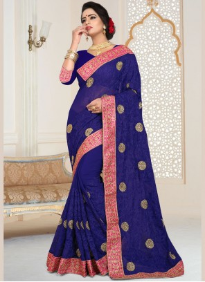Classic Saree Patch Border Faux Georgette in Blue
