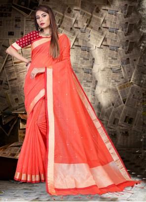 Classic Saree Patch Border Linen in Orange