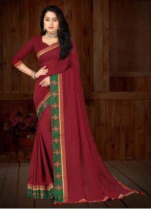Classic Saree Patch Border Vichitra Silk in Maroon