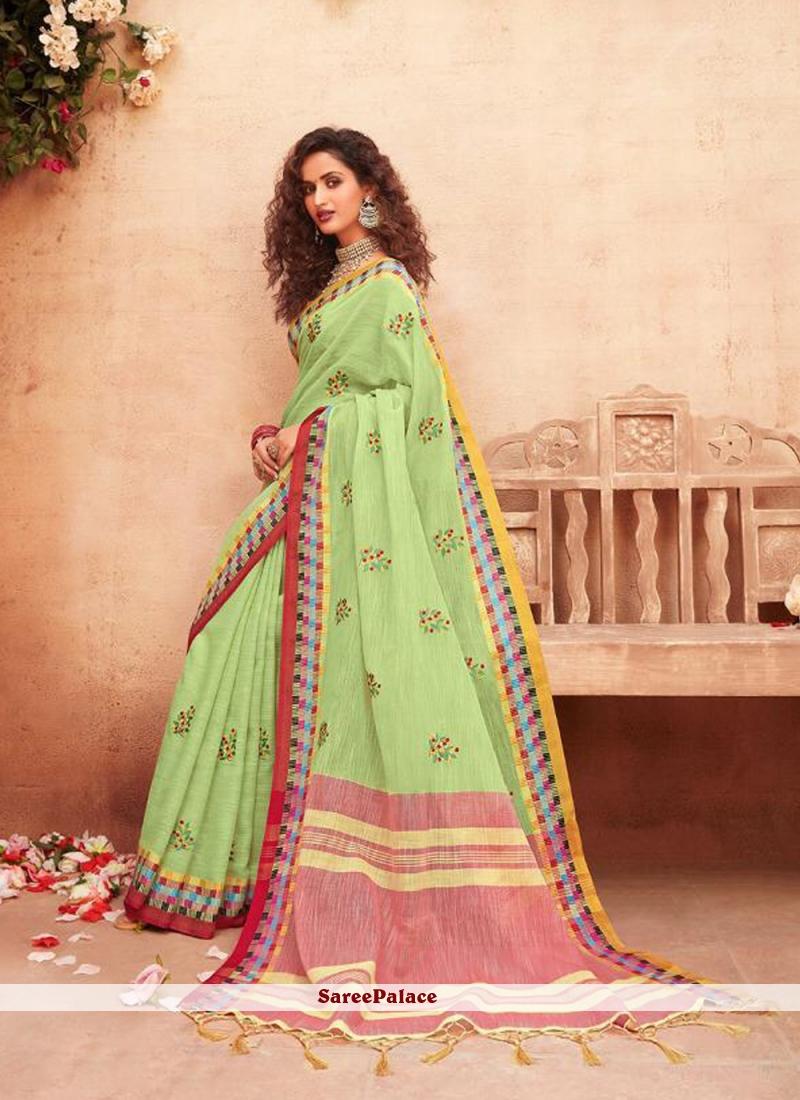Classic Saree Print Fancy Fabric in Green
