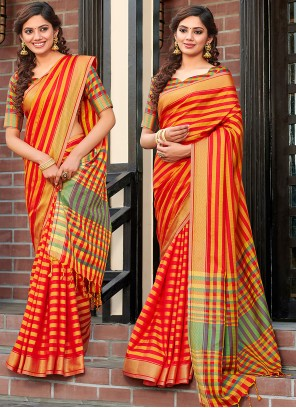 Classic Saree Printed Cotton Silk in Red
