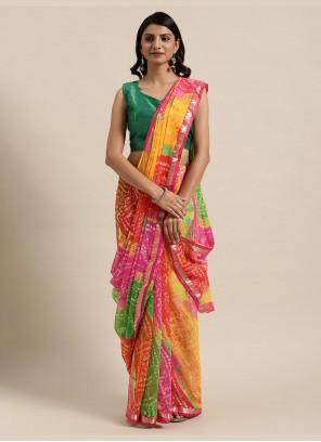 Classic Saree Printed Faux Georgette in Multi Colour