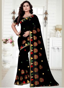 Classic Saree Resham Georgette in Black