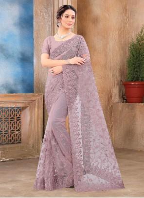 Classic Saree Resham Net in Lavender