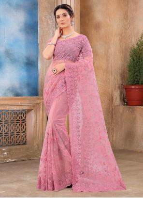 Classic Saree Resham Net in Pink