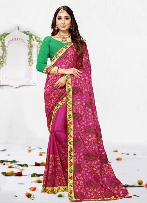 Classic Saree Resham Silk in Magenta