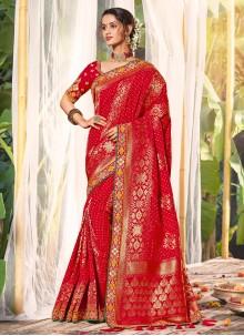 Classic Saree Resham Silk in Red