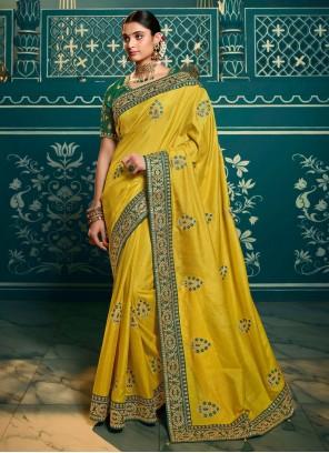 Classic Saree Resham Silk in Yellow