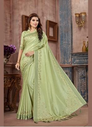 Classic Saree Stone Work Art Silk in Green
