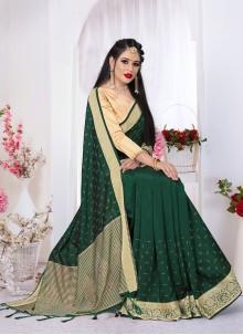Classic Saree Swarovski Viscose in Green